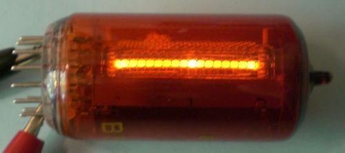 The glowing Nixie tube from the side